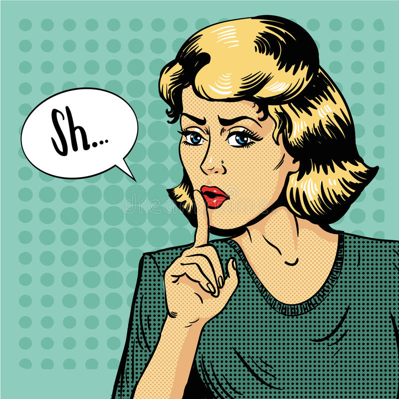 Free Woman Show Silence Sign. Vector Illustration In Retro Pop Art Style. Message Shhh For Stop Talking And Be Quiet Royalty Free Stock Image - 75484876