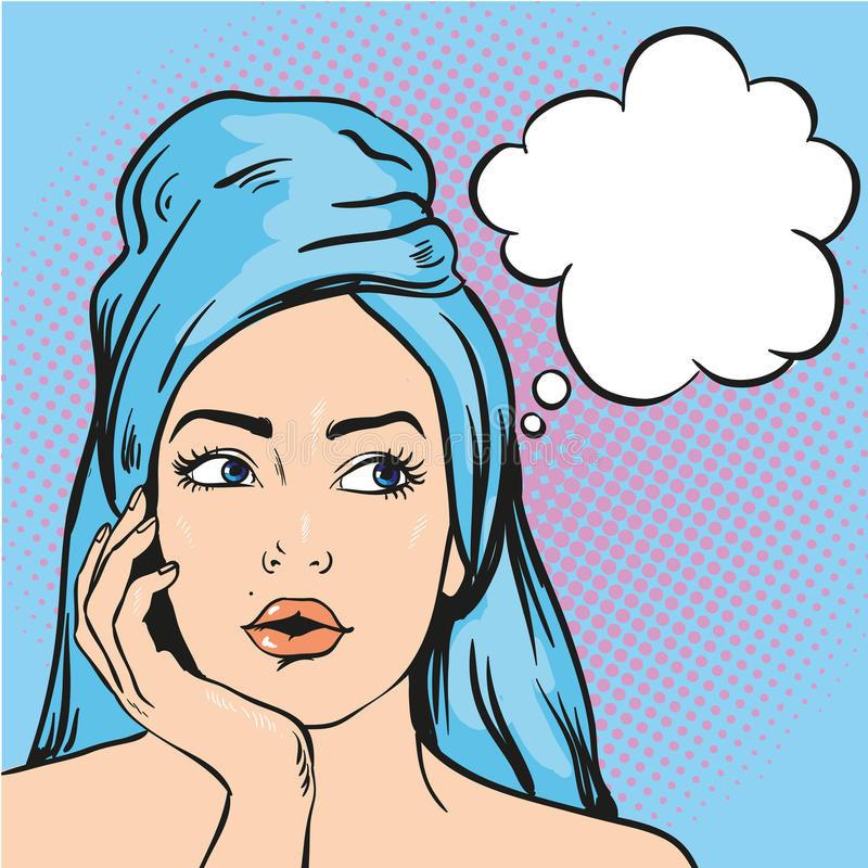 Woman after a shower thinking about something. Vector illustration in pop art comic style stock illustration