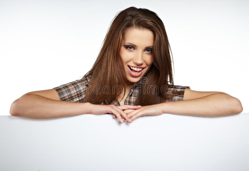 Download Woman Showing Blank Signboard Stock Image - Image: 25681443