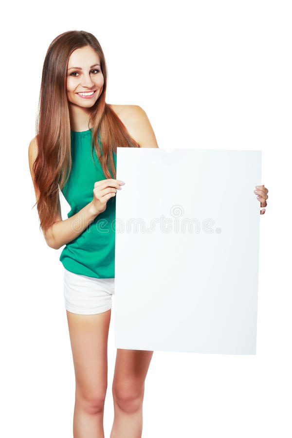 Woman showing blank signboard royalty free stock photos