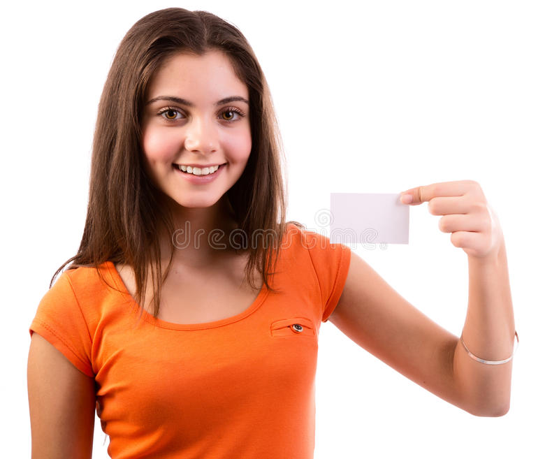 Woman showing business card royalty free stock images