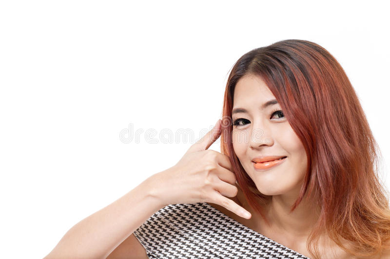 Woman showing contact us, call us, faq, helpline service line stock photo