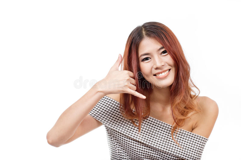 Woman showing contact us, call us, faq, helpline service line. Hand sign on white isolated background royalty free stock images