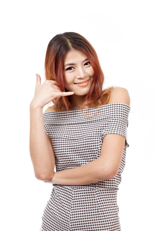 Woman showing contact us, call us, faq, helpline service line stock photography