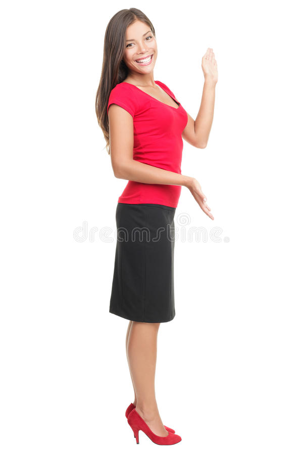 Woman showing copy-space isolated royalty free stock images