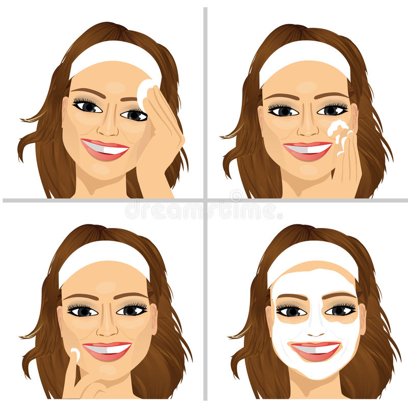 Woman showing four steps for cleaning face vector illustration