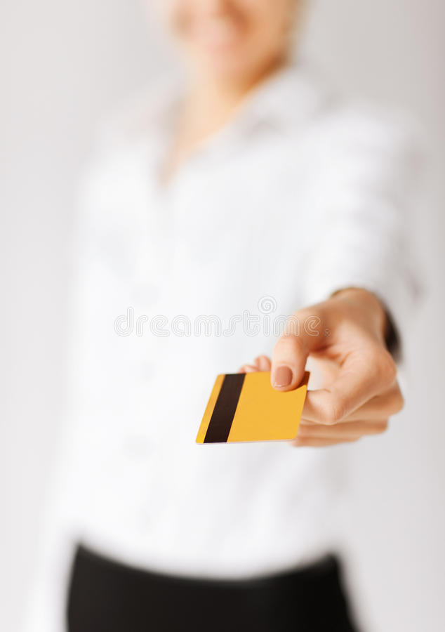 Download Woman Showing Gold Credit Card Stock Photo - Image: 34106230