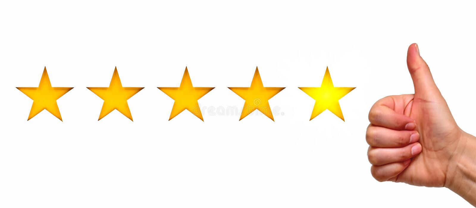 A woman showing hand sign thumb up and five star symbol, the concept of a positive rating, reviews and feedback. White background stock photos