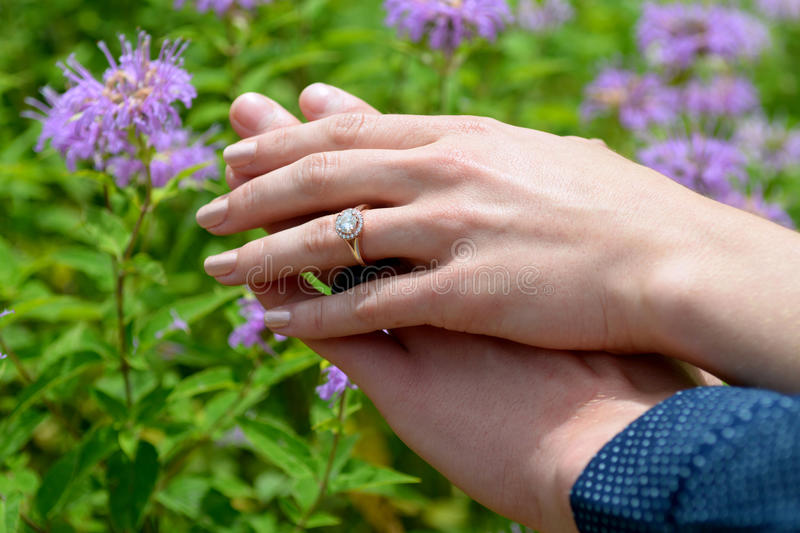 Woman Showing Her Engagement Ring Stock Image