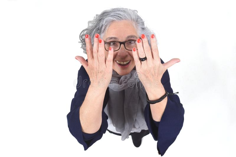 Woman showing her painted fingernails royalty free stock images