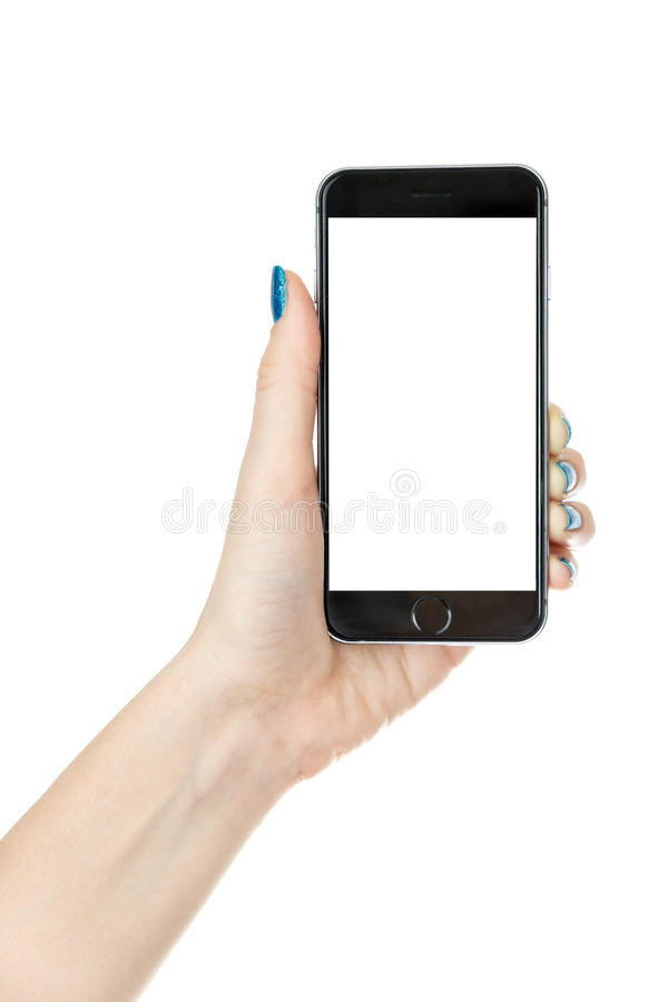 Woman showing iphone with isolated screen. Woman showing smart phone iphone with isolated screen, isolated on white stock images