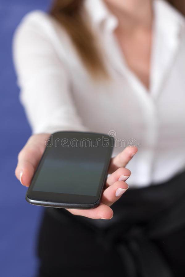 Download Woman Showing A Mobile Phone Stock Image - Image: 37430019