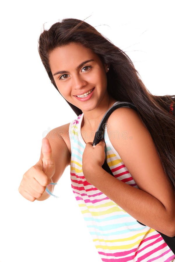 Woman showing ok with school bag royalty free stock photo
