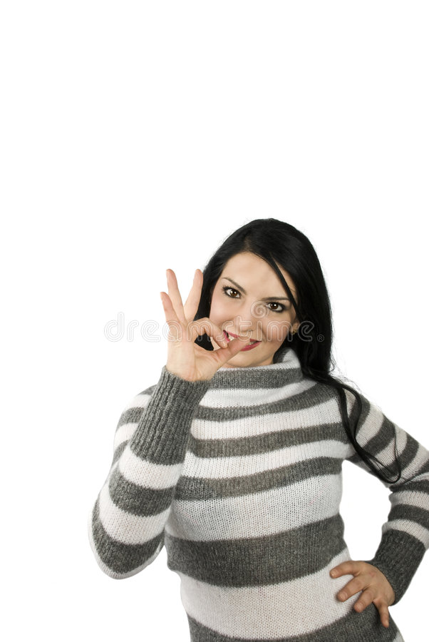 Download Woman showing OK sign stock photo. Image of accept, adult - 8313148