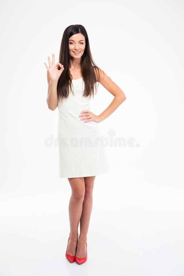 Woman showing ok sign with fingers royalty free stock images