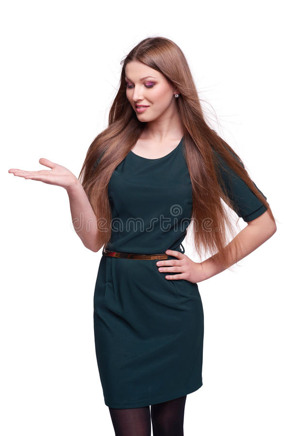 Woman showing open hand palm. Smiling business woman showing open hand palm with copy space for product or text royalty free stock images