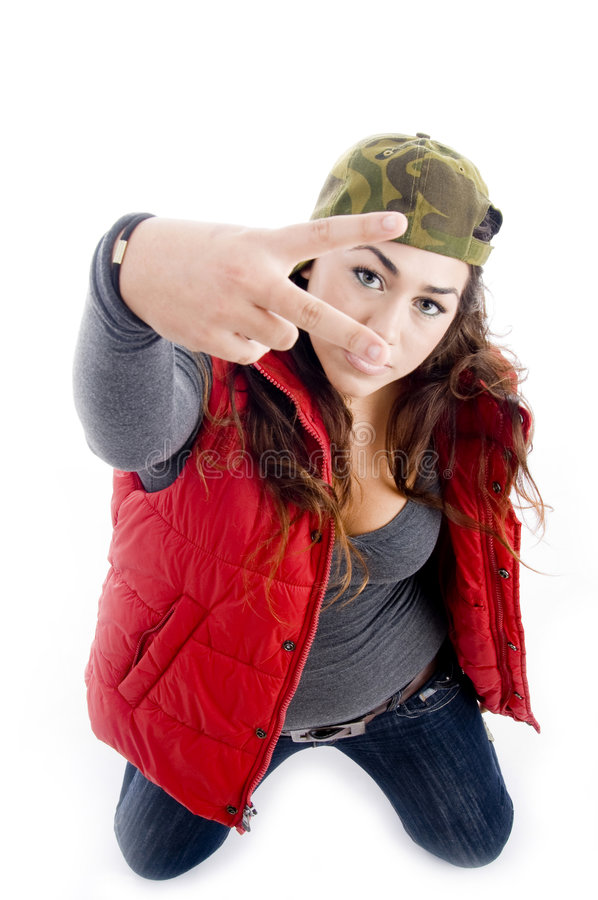Woman Showing Peace Sign Royalty Free Stock Images