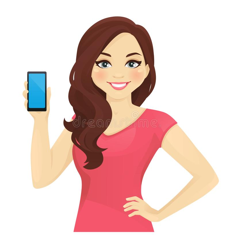 Woman showing phone stock illustration