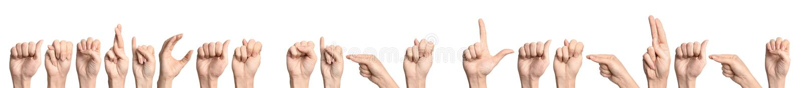 Woman showing phrase American Sign Language. On white background stock images