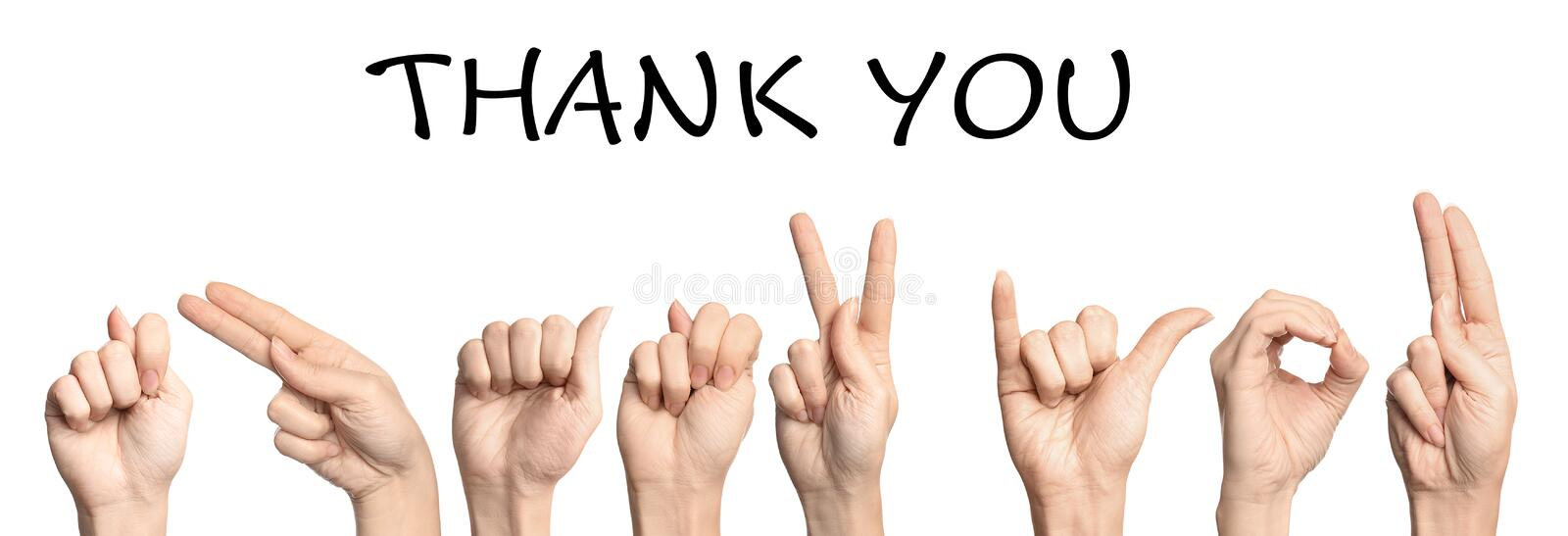 Woman showing phrase Thank You on white background. stock photo