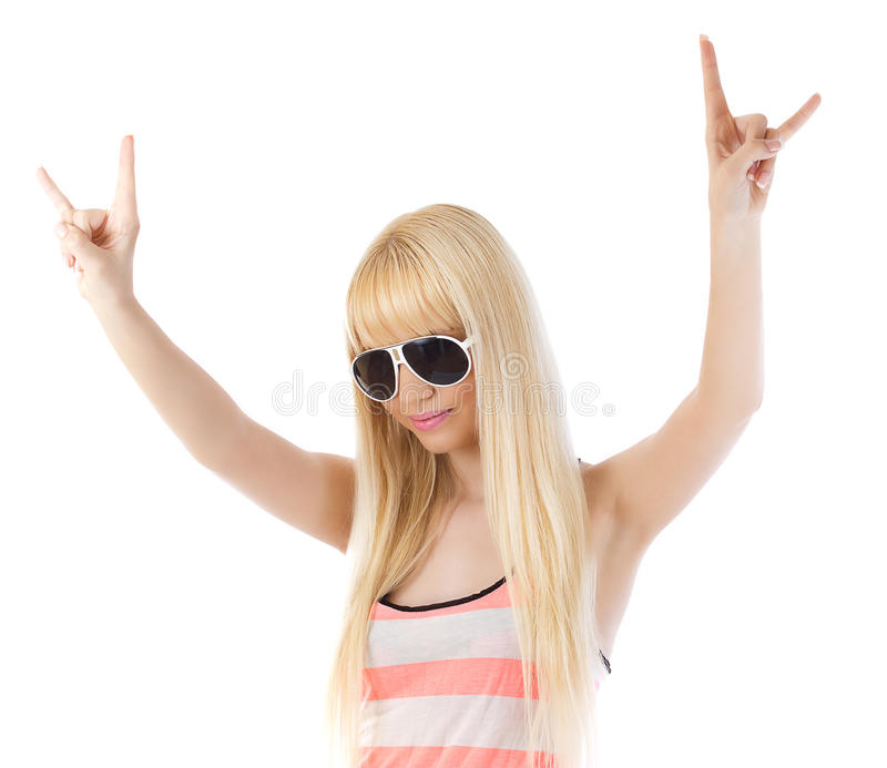 Download Woman Showing The Rock Sign With Her Hands Stock Photo - Image: 25894554