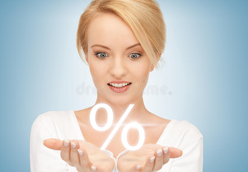 Download Woman Showing Sign Of Percent In Her Hands Stock Image - Image of person, happy: 38349129