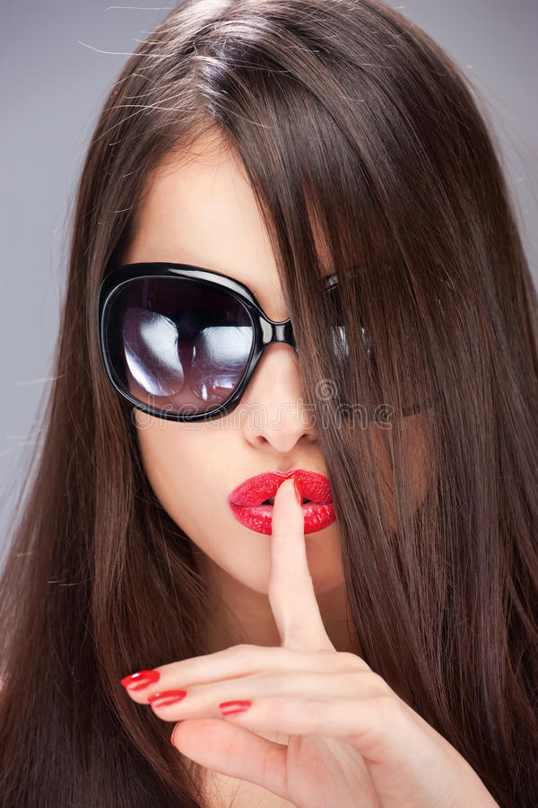 Download Woman Showing The Sign For Silence With Finger Stock Image - Image: 27294723