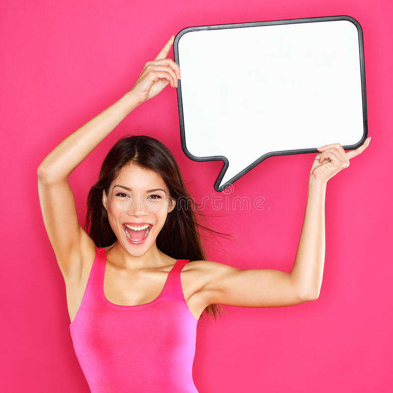 Download Woman Showing Sign Speech Bubble Happy Stock Image - Image: 32884903