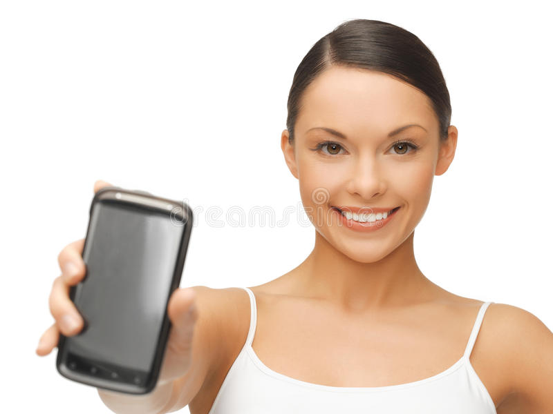 Download Woman showing smartphone stock image. Image of slim, dieting - 31893327