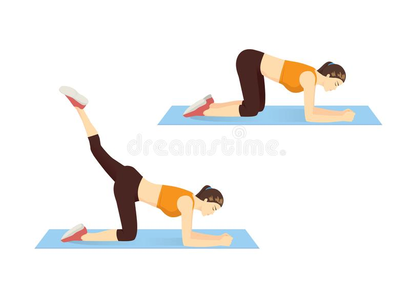 Woman showing step of thigh and hip workout with reverse leg lift. vector illustration