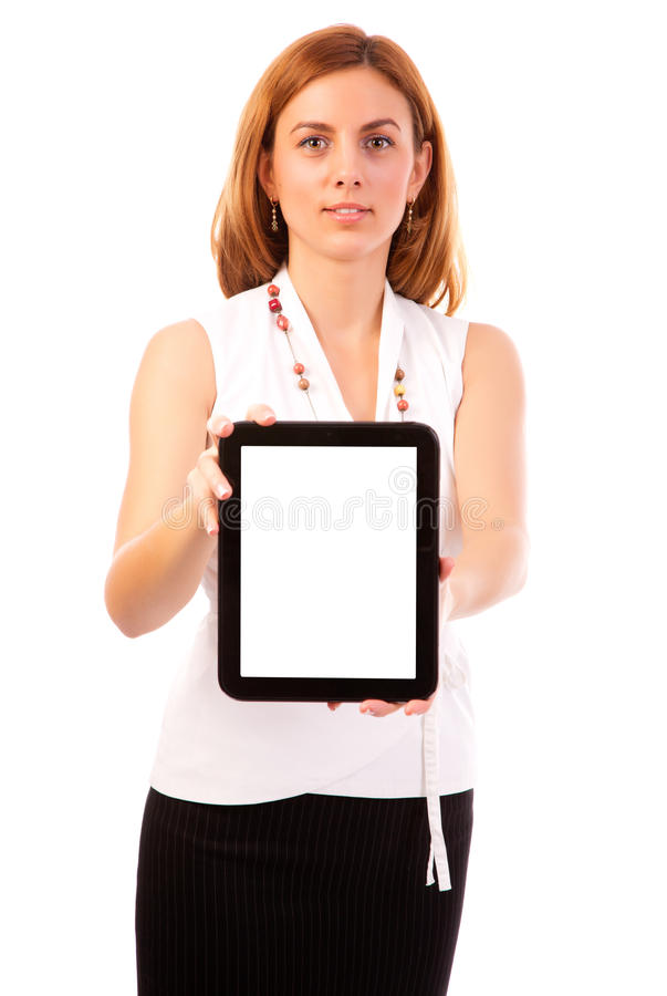 Download Woman showing tablet pc stock photo. Image of communication - 28094468