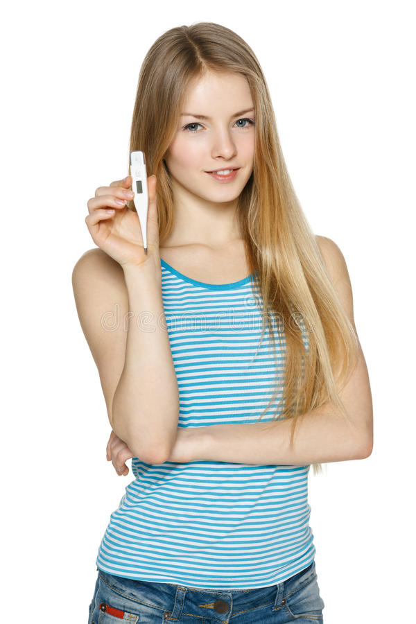 Woman showing thermometer royalty free stock photo