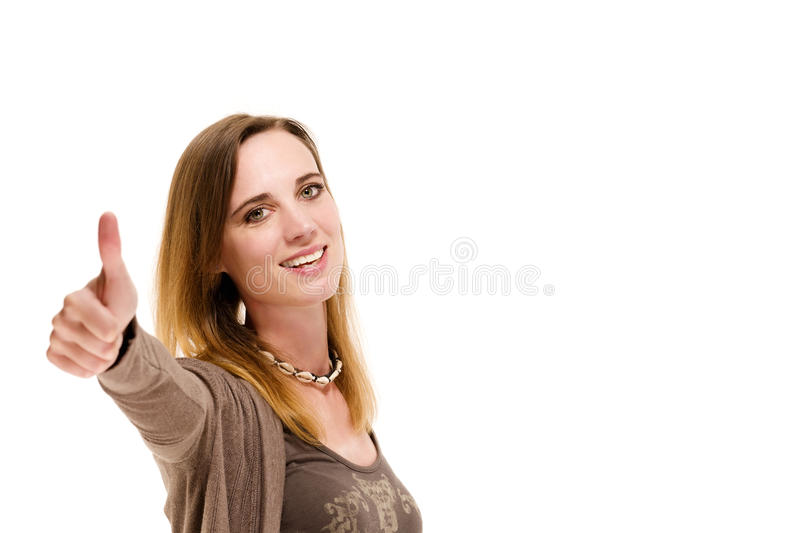 Woman showing thumbs up. On white background stock image