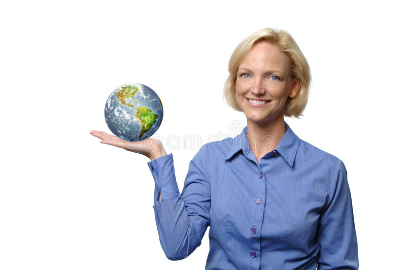Woman showing the world royalty free stock images