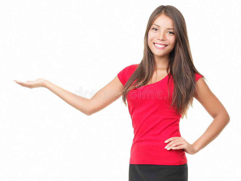 Woman Showing Your Product Royalty Free Stock Image