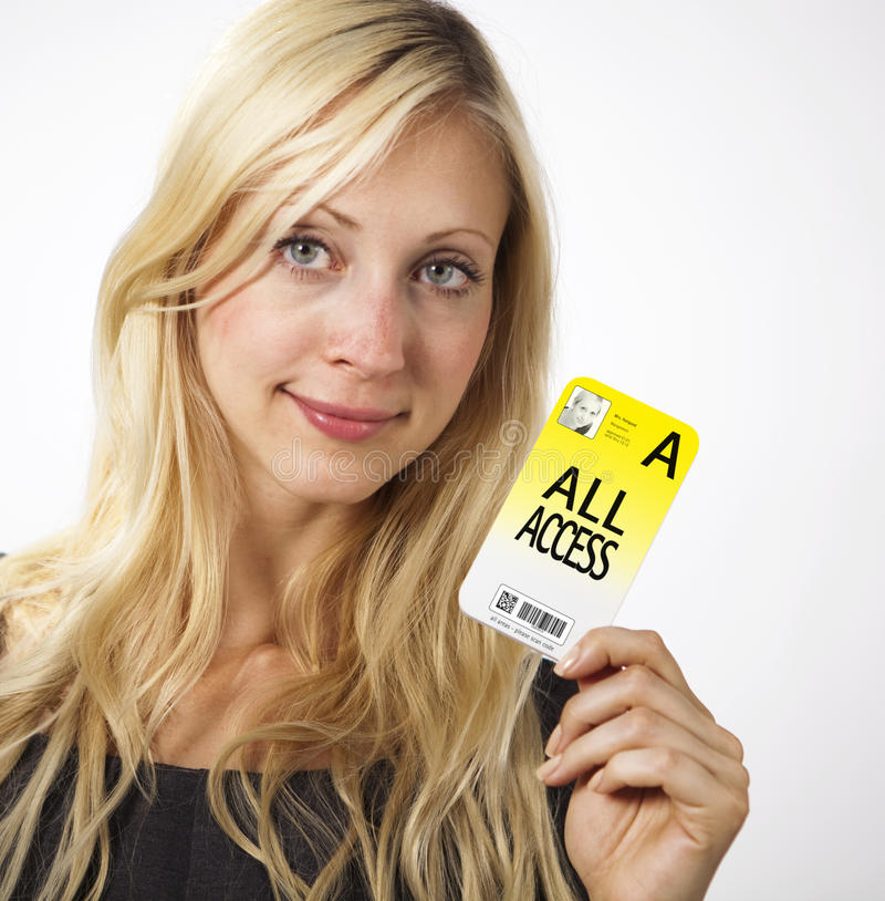 Download Woman Shows Access Card Royalty Free Stock Image - Image: 21247906