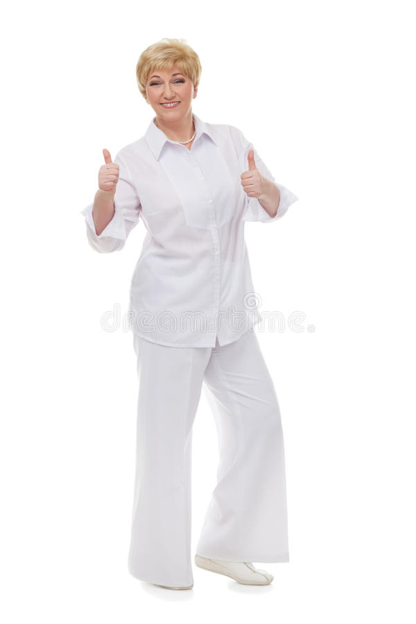 The Woman Shows That All Is  Well Stock Photo
