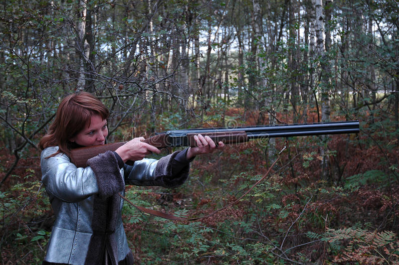 Download Woman is shuting stock image. Image of hunter, shooting - 11330235
