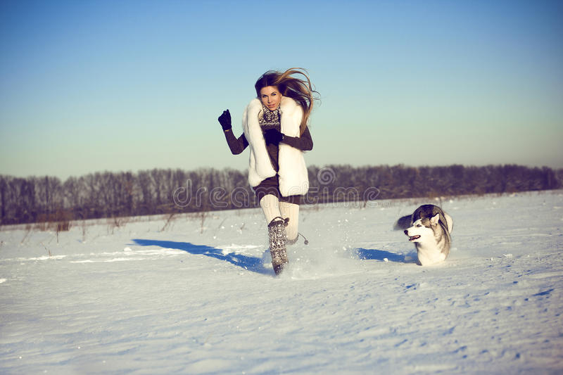 Woman with siberian husky. At race in winter royalty free stock images