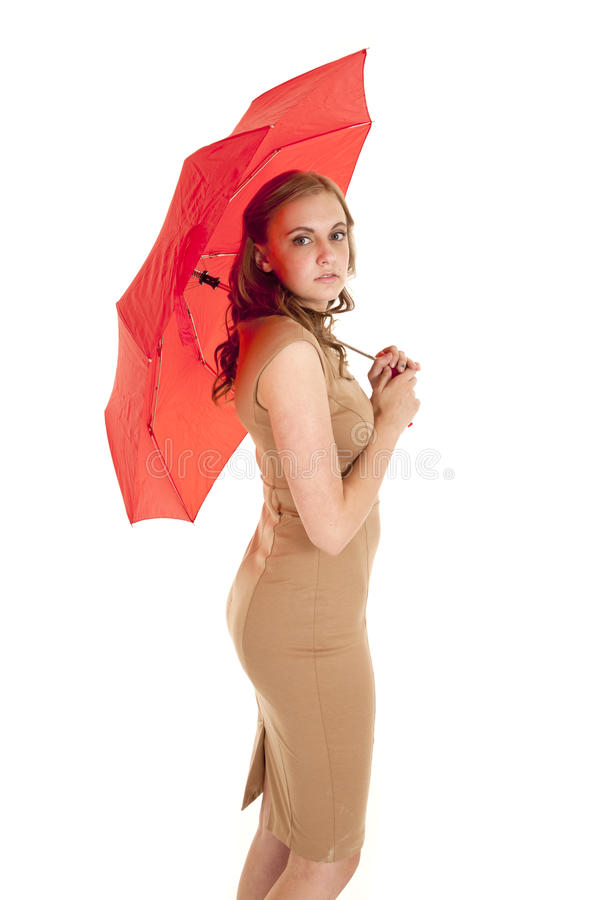 Download Woman side umbrella red stock image. Image of full, delight - 25555799