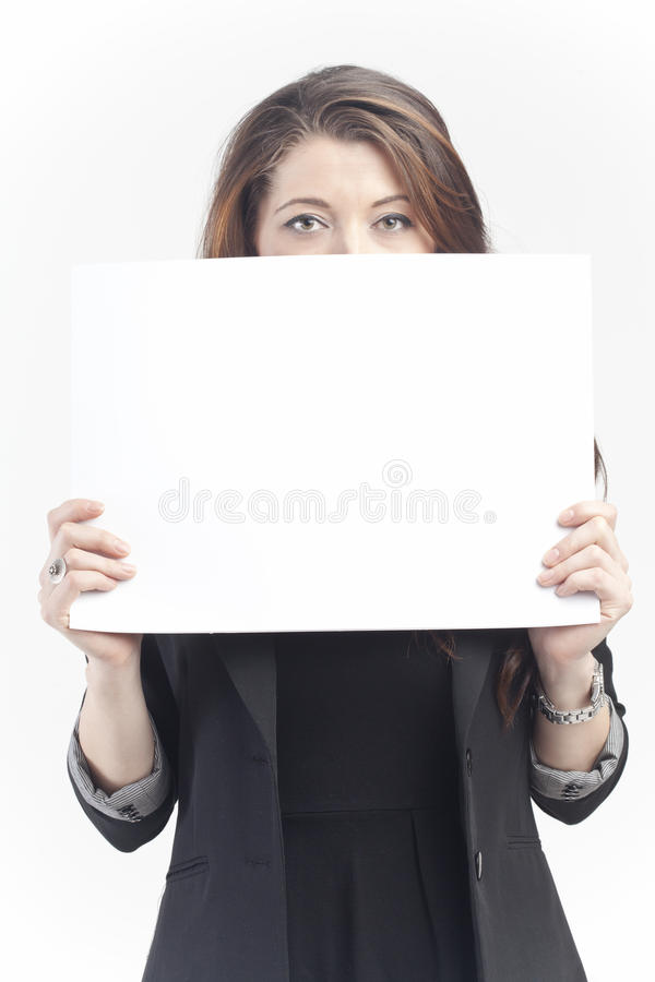 Woman with sign royalty free stock photo