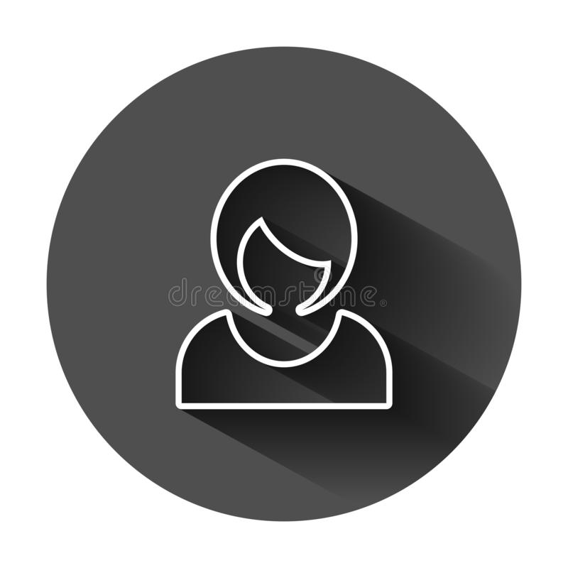 Woman sign icon in flat style. Female avatar vector illustration on black round background with long shadow. Girl face business stock illustration