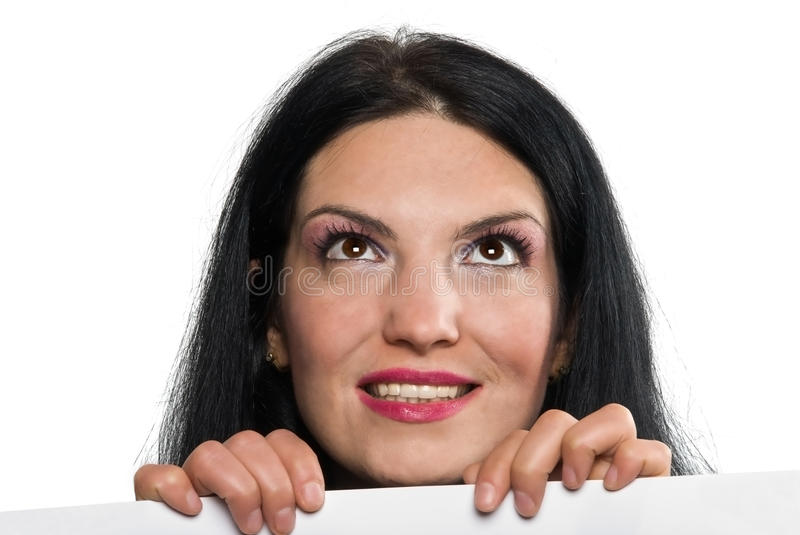 Download Woman with sign looking up stock image. Image of charming - 9590281