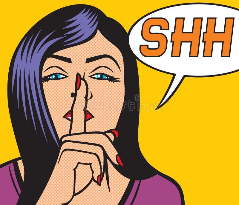 Woman with silence sign pop art illustration. Girl asking for silence pop art illustration stock illustration