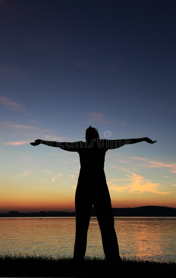 Download Woman silhouette stock photo. Image of body, coast, happy - 17914244