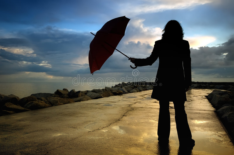 Woman silhouette stock photography