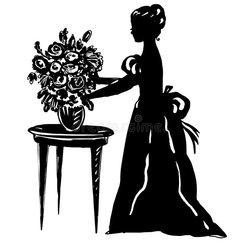 Woman silhouette in antique dress with flowers in vase on table stock illustration