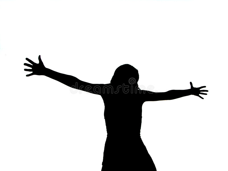 Woman Silhouette with Arms stock illustration