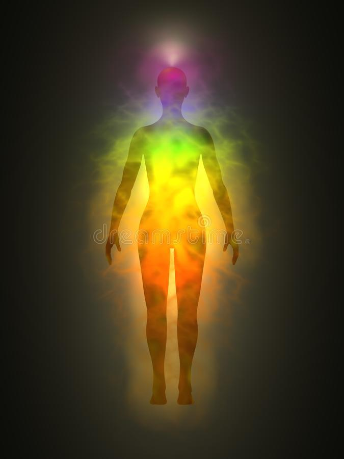 Woman silhouette with aura, chakras, energy vector illustration