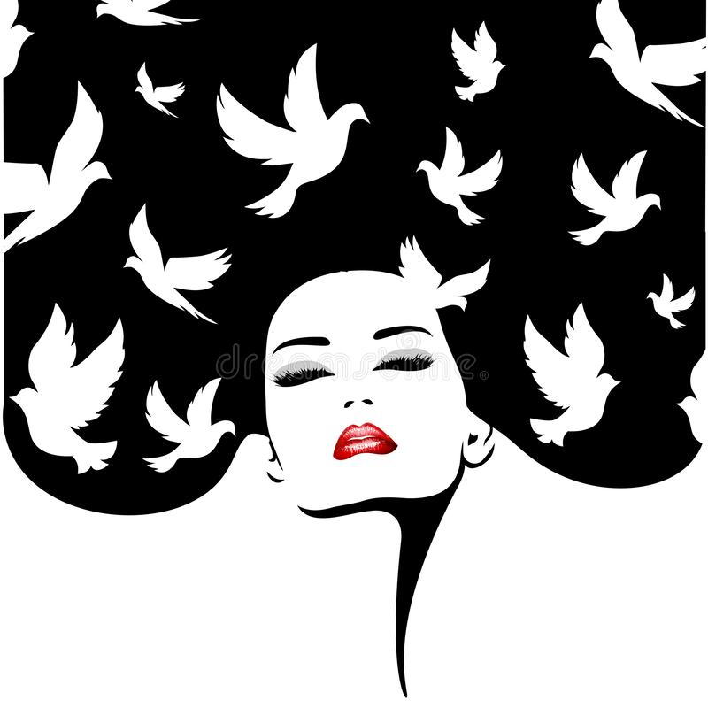 Woman silhouette with birds. Vector fashion illustration. vector illustration